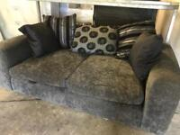 Black and grey fabric 2 seater sofa