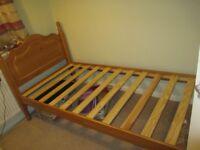 Single wood bed frame
