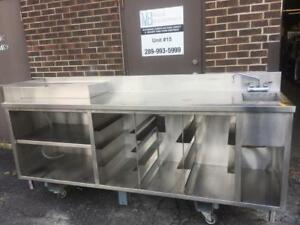 Commercial Heavy Duty Stainless Steel Table 92x25 inch with Hand Sink and Ice Box