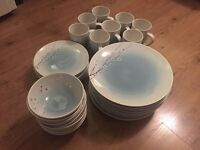 Duck egg blue 64 piece dinner set- dinner plates, side plates, bowls, mugs (Virgin Vie)