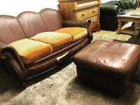Vintage French Art Deco distressed leather club sofa