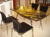 Quality Glass Dining Table + 4 matching chairs excelelnt condition