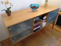Wooden Sideboard, with Frosted Glassdoor Cupboards and Steel Frame