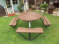 INDUSTRIAL QUALITY GARDEN BENCH AND FIXED SEATING FOR 8 - EX PUBLIC HOUSE