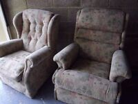 TWO matching chairs, 1 electric recliner + 1 armchair, as new, CAN DELIVER 20 MILES, sherborne
