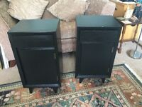 """Pair of Solid Wooded Vintage Bedside Cabinets with drawer & cupboard H26.5""""/67cmW15""""/38cmD13.5""""/34cm"""