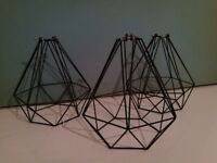 3x black geometric metal pendant light fittings £45 ONO