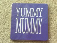 ' Yummy Mummy ' purple coffee tea drinks coaster mat Brand new