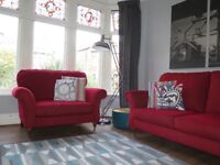 Red MARKS & SPENCER M&S 'Salisbury' Snuggler & Large 2 Seater Sofa Suite