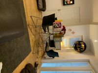 Dwell round glass table and four chairs seats 4-6