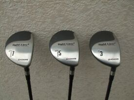Adams Golf Tight Lies 2 Spin Control Set of 3,5 & 7 Fairway Woods Excellent condition.