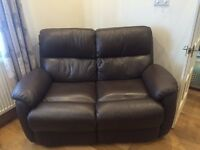 £ seat and 2 seat Brown Leather sofa. Very good Condition. Available to collect on 10th September
