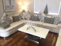 Luxury white leather corner sofa