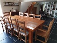 Solid Wood Dining Room Table and 10 Chairs