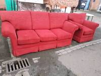 Red fabric 3 seater sofa with chair