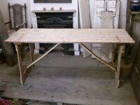 folding wooden trestle table