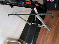 Weight Bench with Bar and Vinyl Weights.