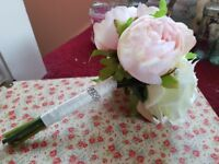 Pink and white artificial peony wedding bouquets