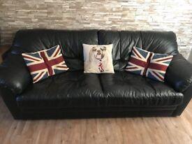 Sisi Italia soft black leather 3 seater sofa & 2 electric twister chairs