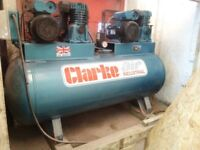 clarke air compressor 270l twin 4hp ,240v