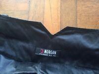 Morgan black shiny contemporary cropped trousers with belt. Size 10/12