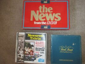 3 BOARD GAMES 1980's-TRIVIAL PURSUIT GENUS/NEWS FROM THE BBC/NEWSREEL TRIVIA-UNUSED-COLLECT BENFLEET