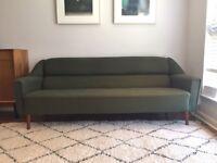 Restored Original Danish Midcentury Three Seater Sofa in Forest Green Wool