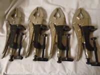 4x BLUE POINT 10'' LOCKING PLIERS GPW10 C/W HOLD CLAMPS VGP-1010