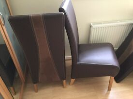 6 Brown leather suede effect dining chairs. Very good condition. Buyer collects