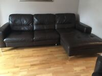 Luxurious Brown Leather Corner Sofa and Chair