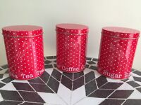 Tea, coffee and sugar storage tins