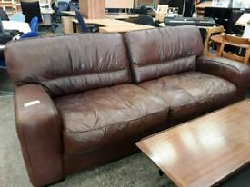Good Condition Brown Leather 3 and 2 Seater Sofas