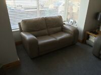 3 seater and 2 seater leather sofa with foot stool