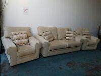 STERLING FURNITURE BEIGE FABRIC SET 3 SEATER / SUITE / SETTEE & 2 CHAIRS DELIVERY AVAILABLE
