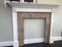 Fireplace surround - Wooden mantel and marble back panel