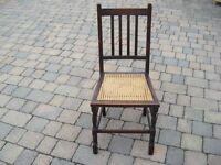 Dark Solid Oak Framed, Cane-Seated Bedroom Chair