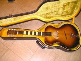 Extremely Rare Vintage Parlour Acoustic Guitar with arched back & ornate soundhole - plays great