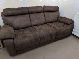 2 x 3 seater recliner sofa