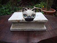 Quirky wood book/box kitten ornament.