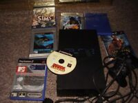 PLAYSTATION 2 WITH GAMES WITH TEKKAN 4 HARRY POTTER AND MORE