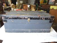 VINTAGE TRUNK WOOD & METAL BOUND & IS ZINC LINED MARSHALL IMPROVED IN GOOD CONDITION £70