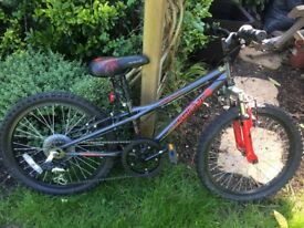 Dark grey/red spider bike. Hasn't been used much. A few scratches and seat slightly torn.