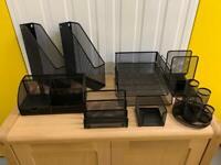 Home office complete desk set stationary organiser A4 black brand new