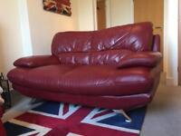 Dark red leather sofa - from HARVEYS