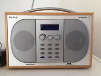 Pure Evoke - 2 XT DAB RDS AM FM Digital Radio Portable MAPLE WOOD USB & Mains