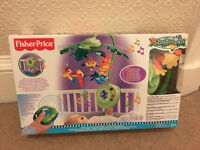 Fisher-Price Rainforest Peek-A-Boo Leaves Musical Mobile with remote control – excellent condition!