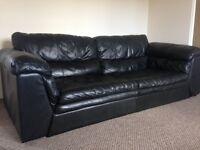 Natural black leather 2 seater sofa