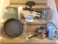 Box of various kitchen equipment