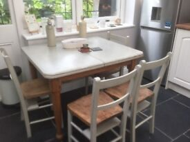 Victorian repainted distressed table and chairs for sale