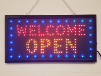LED Flashing WELCOME OPEN sign for shop business cafe pub door hanging window
